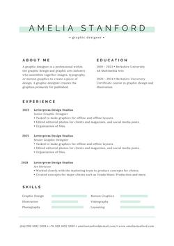 Green and Black Modern Resume