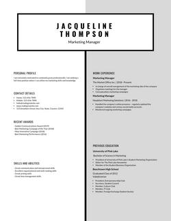 Black and White Minimal Simple Resume