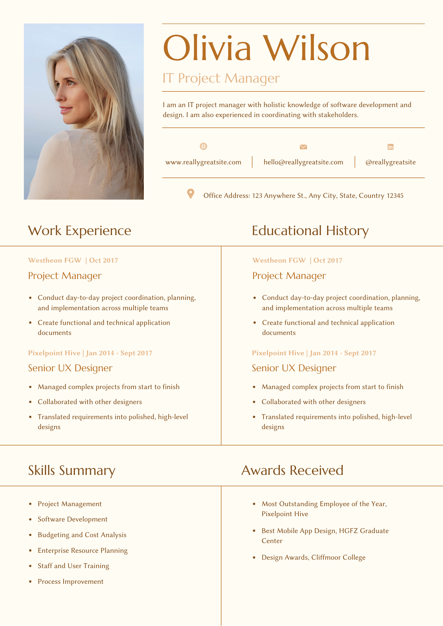 Brown and Cream Modern Resume