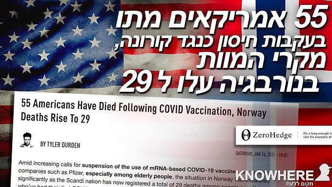 Zero Hedge | חמישים וחמישה אמריקאים מתו בעקבות חיסון כנגד קורונה, מקרי המוות בנורבגיה עלו ל- 29