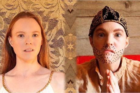 Julie-Marie Parmentier joue les deux personnages d'un spectacle qu'elle a écrit : Petit Ange et Petit Démon