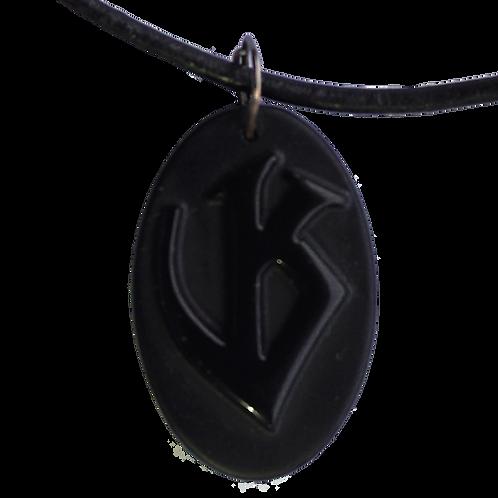 Black Obsidian VK Charm necklace