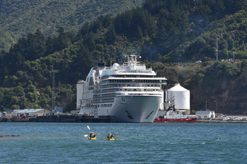 Cruise ship and  kayaks in Pictin Harbor