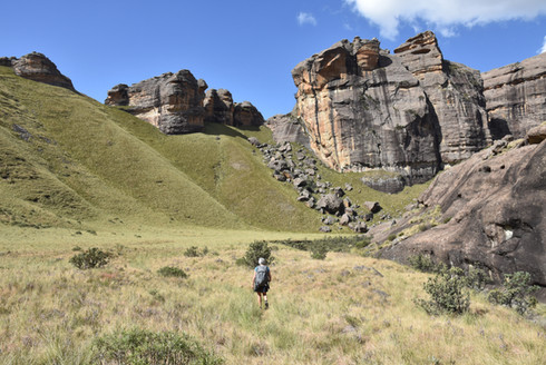 Hiking up Emerald Valley in the Drakensburg