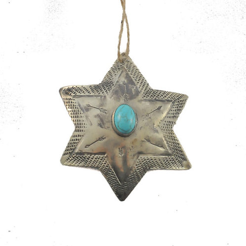 Ornament - Silver Star with Turquoise
