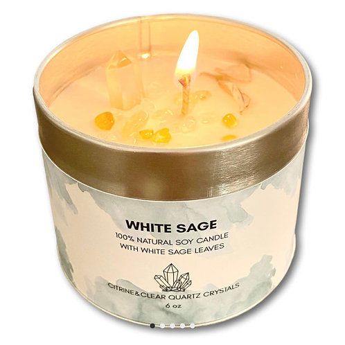 White Sage Candle with Citrine & Clear Quartz Crystals