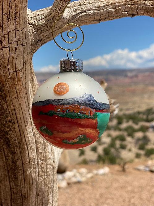 Glass Ball Ornaments - Handpainted, Abiquiu Landscape Inspired