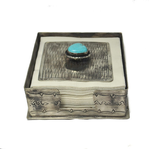 Cocktail Napkin Holder with Lid/Turquoise