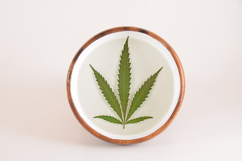 "3.5"" Cannabis Wooden Bowl - Green Valley Creations"