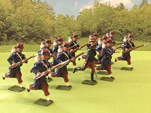 AGW F1.  12 French infantry Charging inc Officer and trumpeter