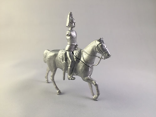 No 195  -Walking horse long reins Sheathed Sword and carbine in saddle