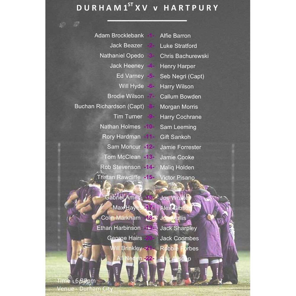 The day of the first BUCS Super Rugby league has arrived with Durham taking on Hartpury in what will surely be an exciting evening. Here are your teams