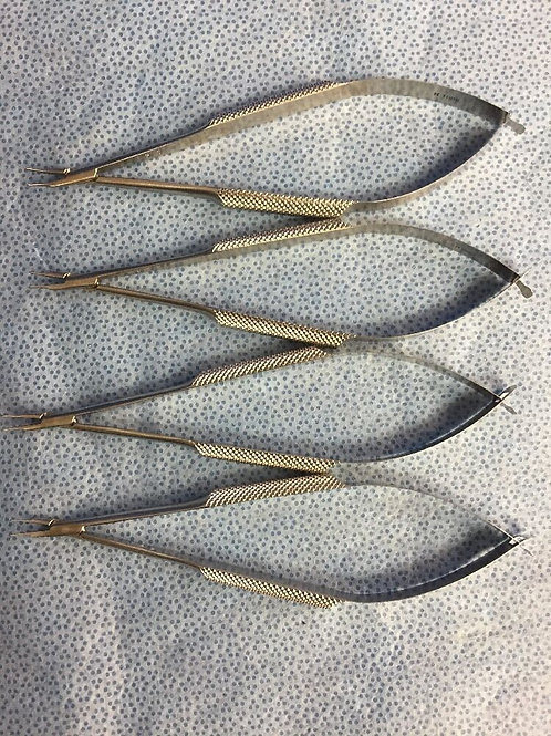 4X Storz (E3828) CWO Barraquer Needle Holder 9mm, Gently Curved, Delicate