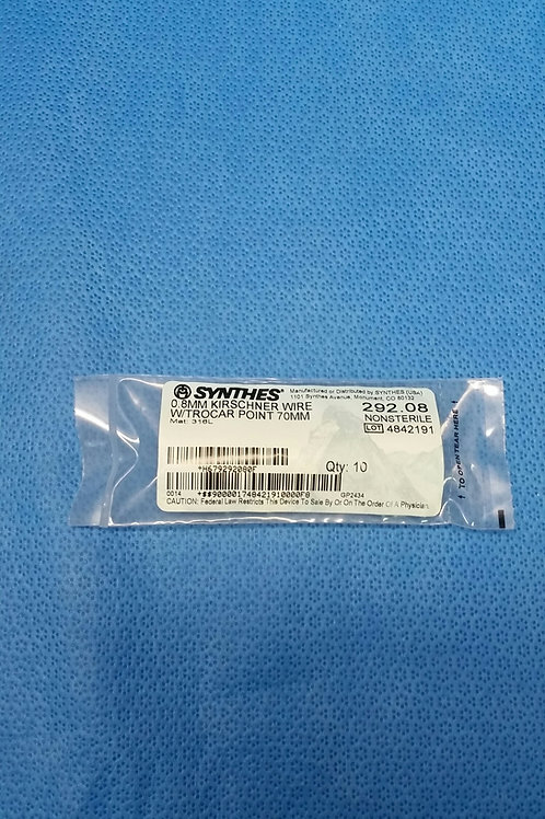 Synthes 292.08, 0.8 mm Kirschner Wire w/ Trocar Point, 70 mm