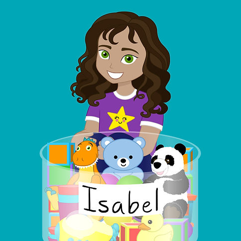 Drawing of a young girl with a tub of toys