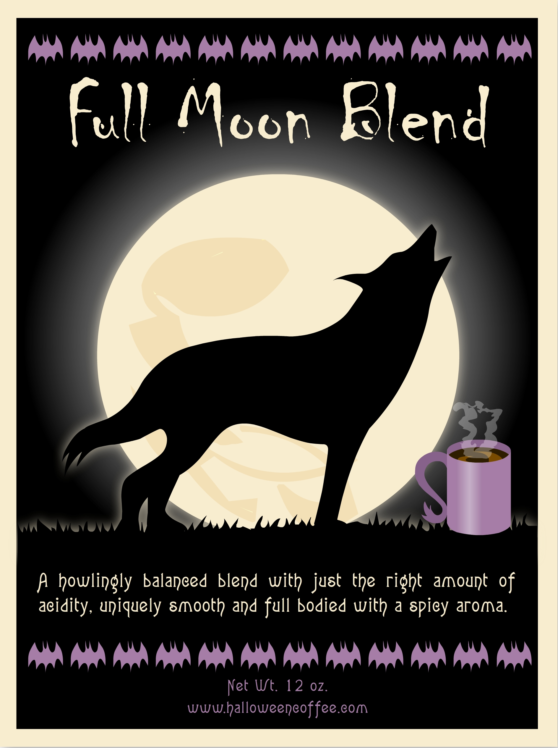 FULL MOON BLEND COFFEE LABEL
