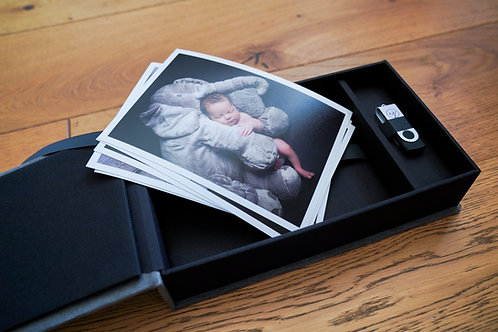 "Newborn Photo Shoot + 20 digital images + Five 7x5"" prints"