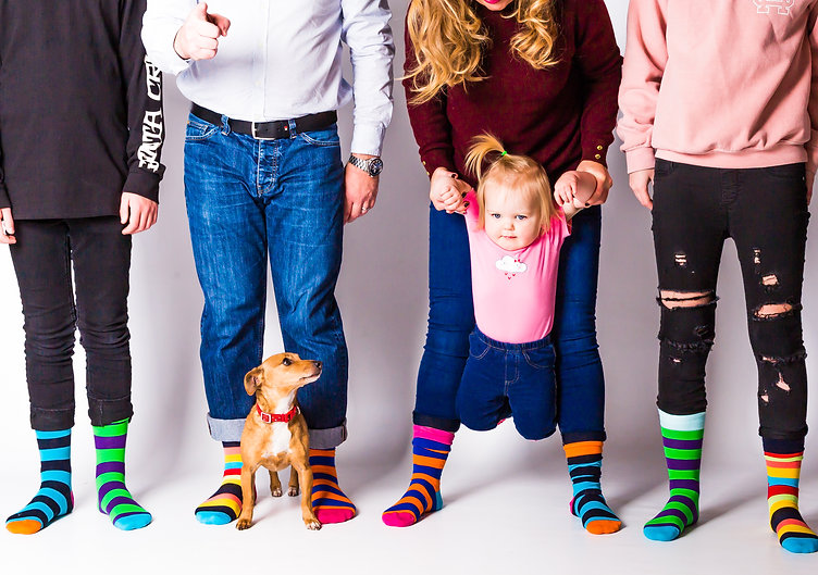 Family photo shoot, stripey socks