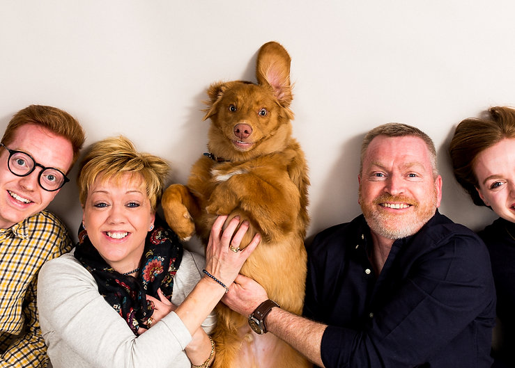 family portrait with dog photo shoot
