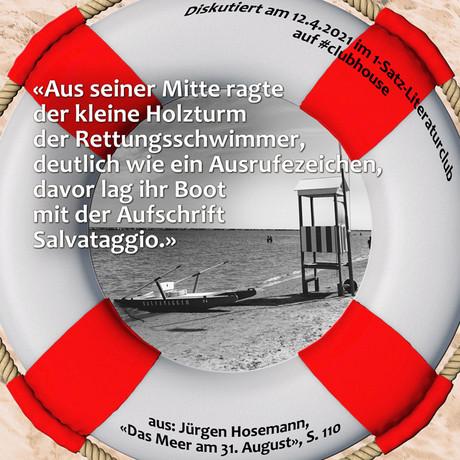 """""""Aus seiner Mitte ragte der kleine Holzturm der Rettungsschwimmer, deutlich wie ..."""