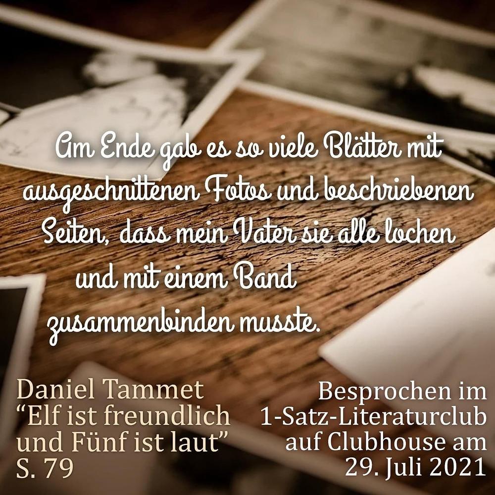 1-Satz-Literaturclub 1SLC Lakritza Judith Niederberger Daniel Tammet Elf ist freundlich und Fünf ist laut