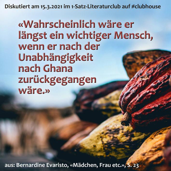 1-Satz-Literaturclub Judith Niederberger Lakritza Bernardine Evaristo Mädchen Frau etc.
