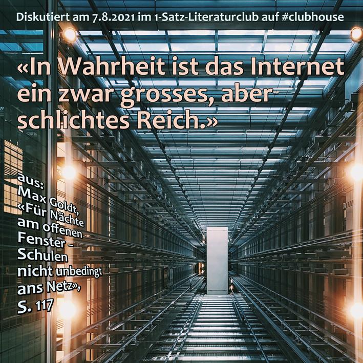 1-Satz-Literaturclub 1SLC Lakritza Judith Niederberger Max Gold Für Nächte am offenen Fenster Schulen nicht unbedingt ans Netz