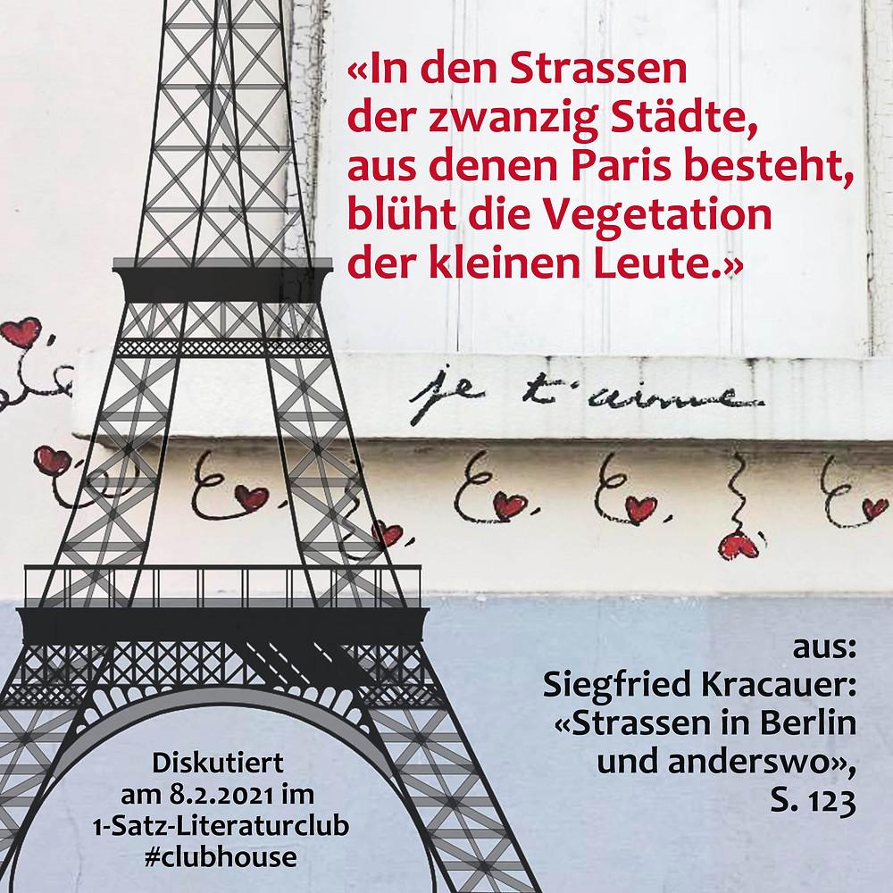 1-Satz-Literaturclub Lakritza Judith Niederberger Siegfried Kracauer Strassen in Berlin und anderswo