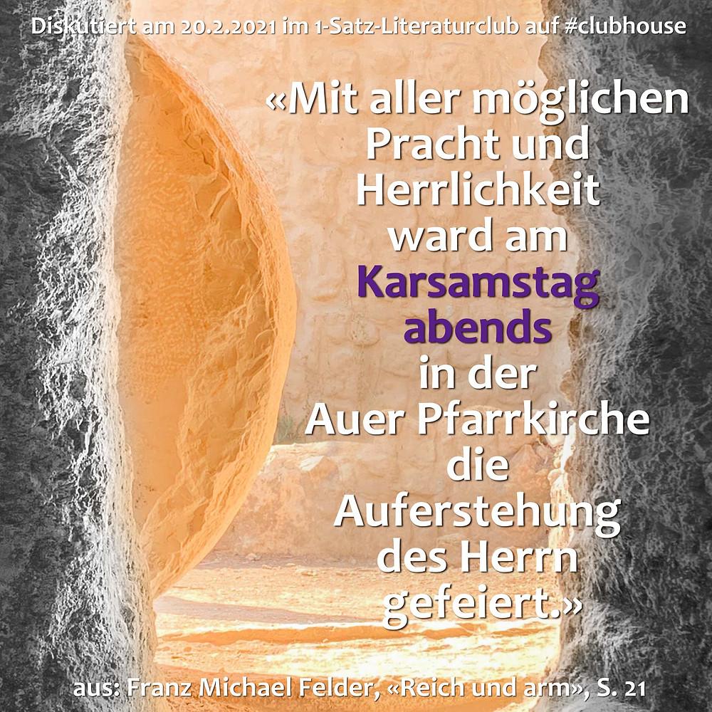 1-Satz-Literaturclub Lakritza Judith Niederberger Franz Michael Felder Reich und arm