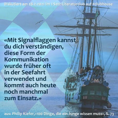 """""""Mit Signalflaggen kannst du dich verständigen, diese Form der Kommunikation wurde früher oft ..."""