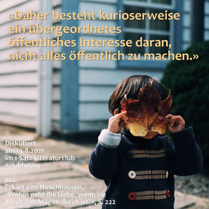 1-Satz-Literaturclub 1SLC Lakritza Judith Niederberger Eckart von Hirschhausen Wohin geht die Liebe, wenn sie durch den Magen durch ist?