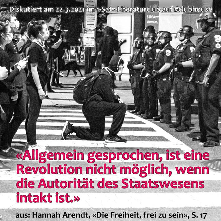 1-Satz-Literaturclub Lakritza Judith Niederberger Hannah Arendt Die Freiheit frei zu sein