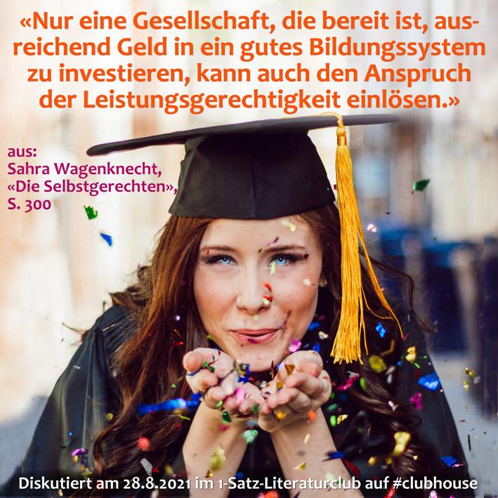 1-Satz-Literaturclub 1SLC Lakritza Judith Niederberger Sahra Wagenknecht Die Selbstgerechten