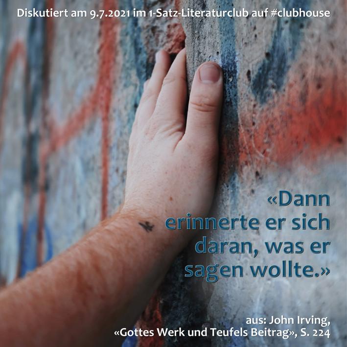 1-Satz-Literaturclub 1SLC Lakritza Judith Niederberger John Irving Gottes Werk und Teufels Beitrag
