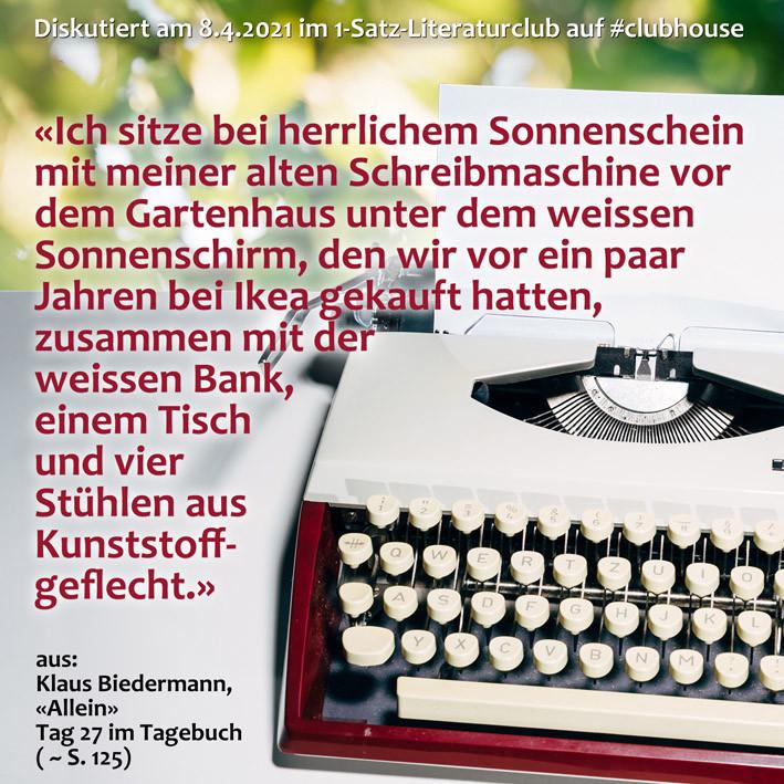 1-Satz-Literaturclub Clubhouse Lakritza Judith Niederberger Klaus Biedermann Allein