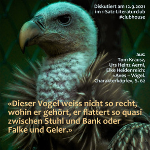 """""""Dieser Vogel weiss nicht so recht, wohin er gehört, er flattert so quasi zwischen Stuhl und ..."""