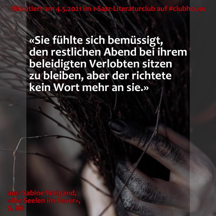 1-Satz-Literaturclub Lakritza Judith Niederberger Sabine Weigand Die Seelen im Feuer