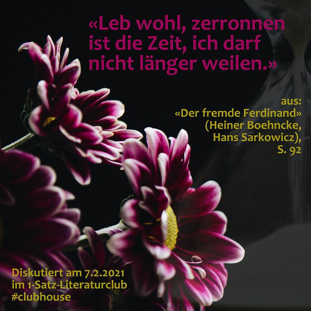 1-Satz-Literaturclub Lakritza Judith Niederberger Heiner Boehncke Hans Sarkowicz Der fremde Ferdinand