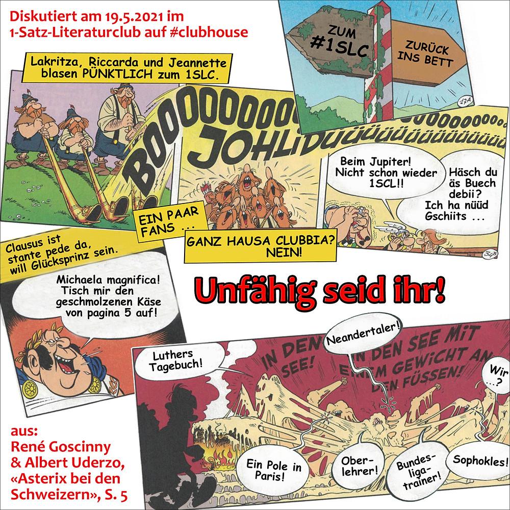 1-Satz-Literaturclub Lakritza Judith Niederberger René Goscinny Albert Uderzo Asterix bei den Schweizern