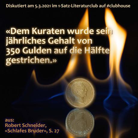 """""""Dem Kuraten wurde sein jährliches Gehalt von 350 Gulden auf die Hälfte gestrichen."""""""