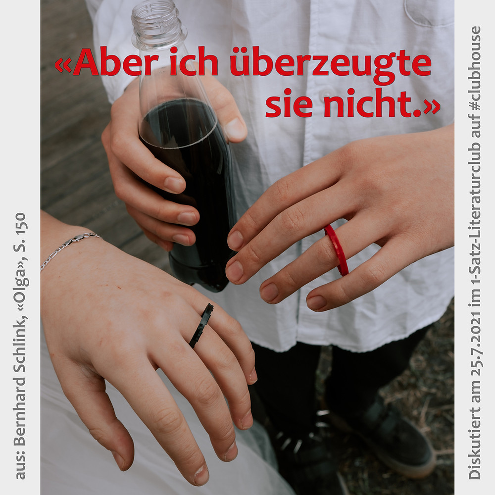 1-Satz-Literaturclub 1SLC Lakritza Judith Niederberger Bernhard Schlink Olga