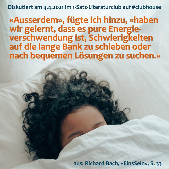 1-Satz-Literaturclub Clubhouse Lakritza Judith Niederberger Richard Bach EinsSein