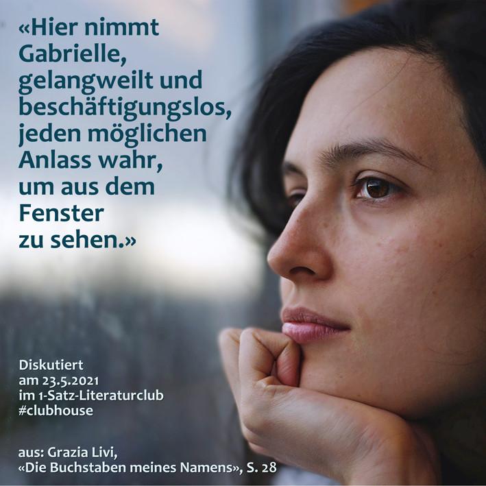 1-Satz-Literaturclub Lakritza Judith Niederberger Grazia Livi Die Buchstaben meines Namens