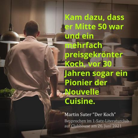 """""""Kam dazu, dass er Mitte 50 war und ein mehrfach preisgekrönter Koch, vor 30 Jahren sogar ein ..."""