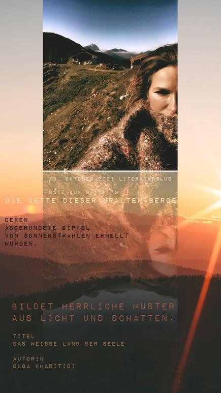 """""""Die Kette dieser uralten Berge, deren abgerundete Gipfel von Sonnenstrahlen erhellt wurden, ..."""