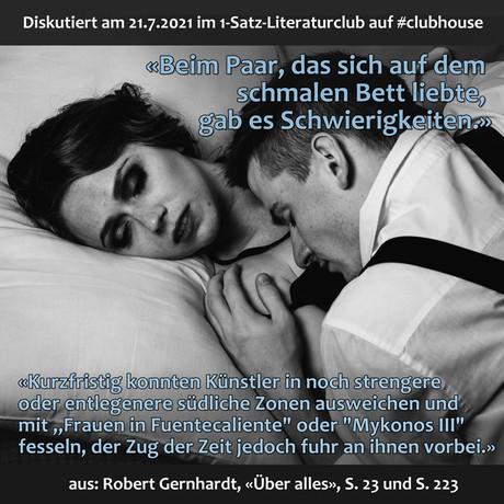 """""""Beim Paar, das sich auf dem schmalen Bett liebte, gab es Schwierigkeiten."""""""