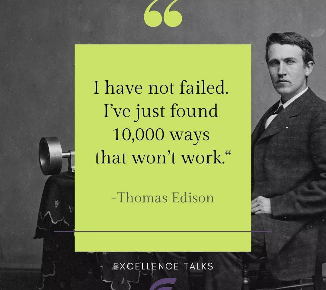 Fear of failure is the enemy of success in innovation. That requires a mindset that sees failure as opportunities, opportunities to grow and innovate. Or in short an Excellence Mindset. Join us to share more ideas in #Excellence, connect, inspire and be inspired!  What is your idea on succeeding in innovation?