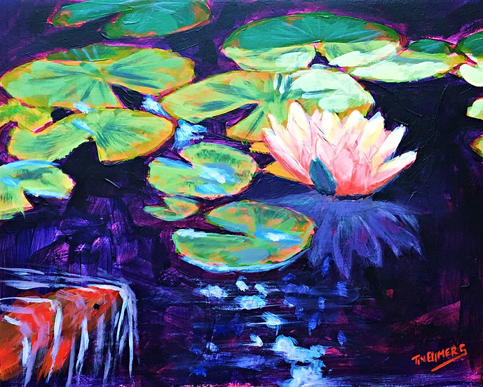 Water Lilies and Koi -Two