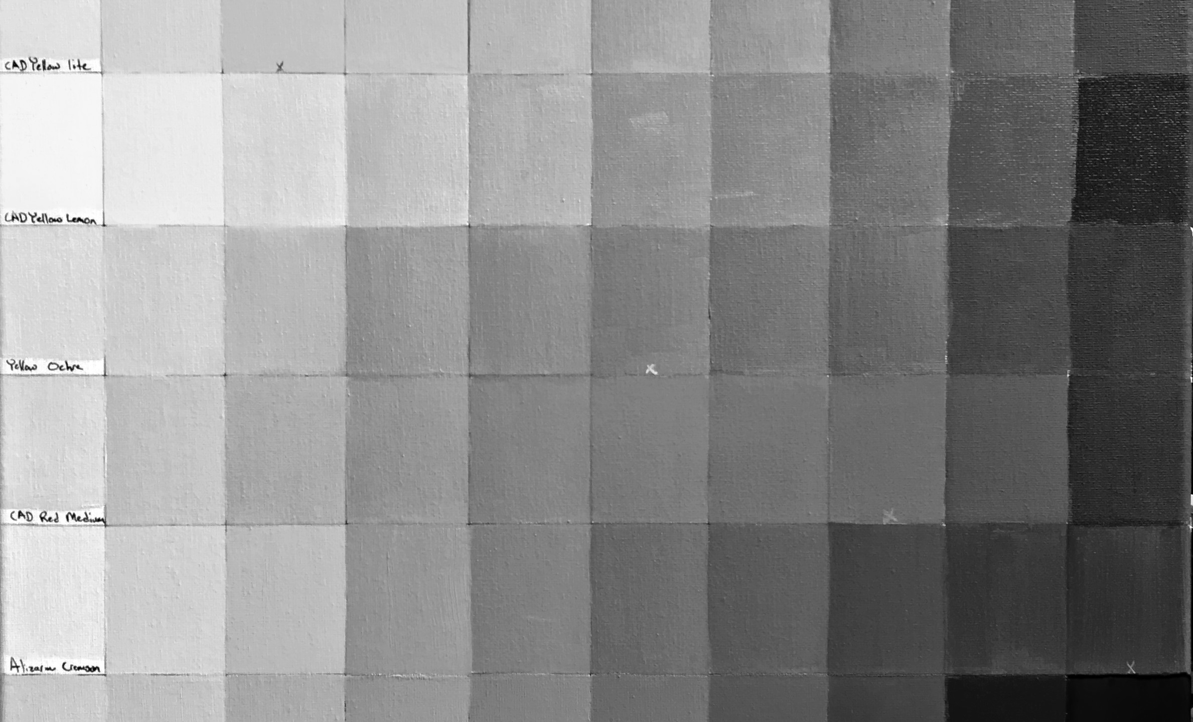 My Pallet in mono-black and white. Each column is technically the same value.
