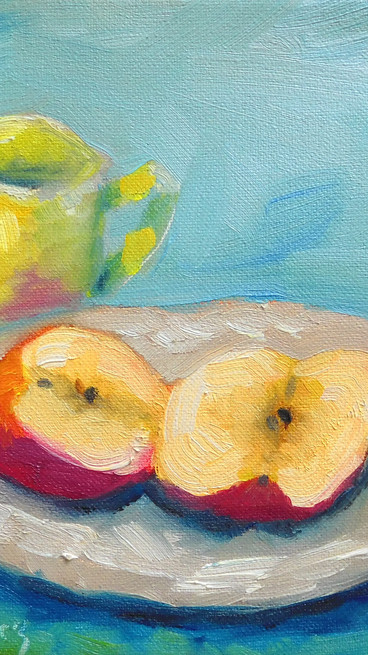 Impressionistic Split Apple and Cup,